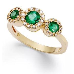 Effy's 14k gold ring Esmeralda and diamond size 7